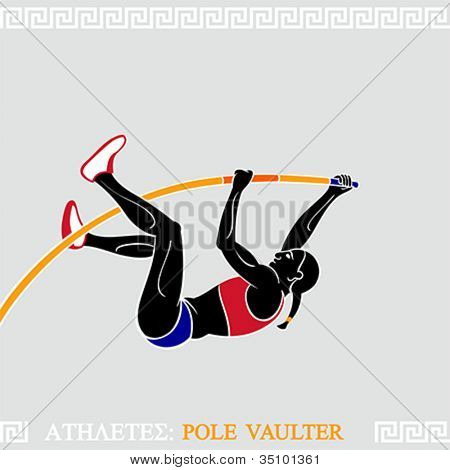 Greek art stylized female pole vaulter take off to new record