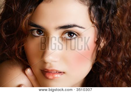 Woman With Golden Make-Up
