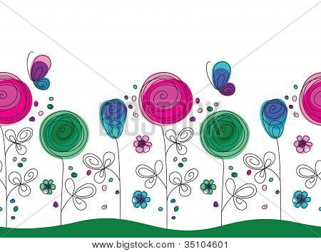 Artistic colorful seamless flower pattern