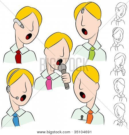 An image of a businessman public speaker microphone set.
