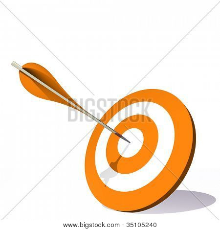 High resolution concept or conceptual orange dart target board with an arrow in center isolated on white background,as success,competition ,business,game,achievement,win,perfect ion,strategy or focus