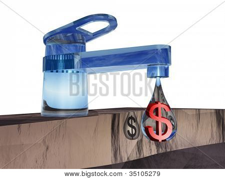 High resolution concept or conceptual abstract tap with a drop falling isolated on white background as a metaphor for money,dollar,crisis,finance,economy,waste,banking,business,loss,source or wealth
