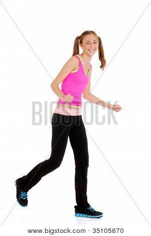 Teen girl laughing doing fitness