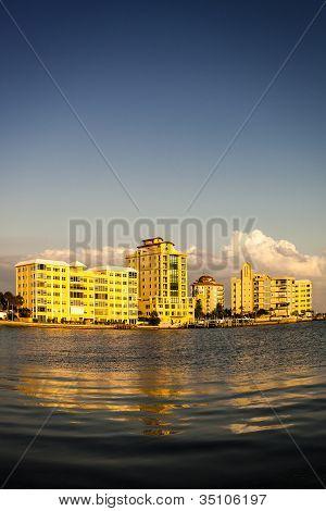 Sunset over Bayfront Buildings