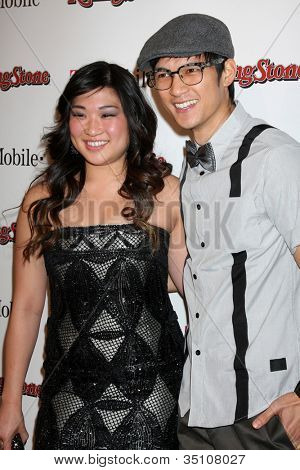 LOS ANGELES - FEB 26:  Jenna Ushkowitz, Harry Shum jr arrives at the Rolling Stone Pre-Oscar Bash 2011 at W Hotel on February 26, 2011 in Hollywood, CA