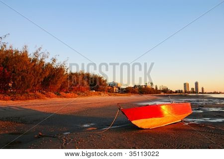Red Boat At Sunrise