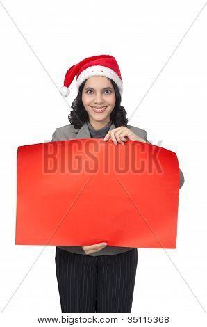 Santa Woman Hold Banner