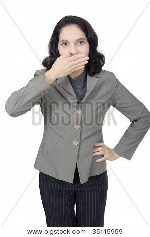 Business Woman Say Secret