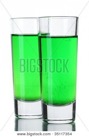 Two glasses of absinthe isolated on white
