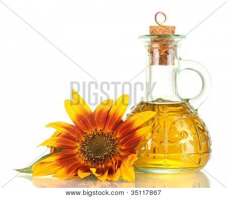 sunflower oil and sunflower isolated on white