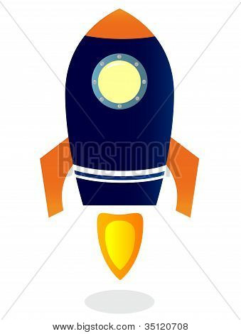 Starting Rocket Ship Isolated On White
