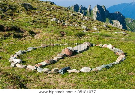 Stone circle sign in the mountains