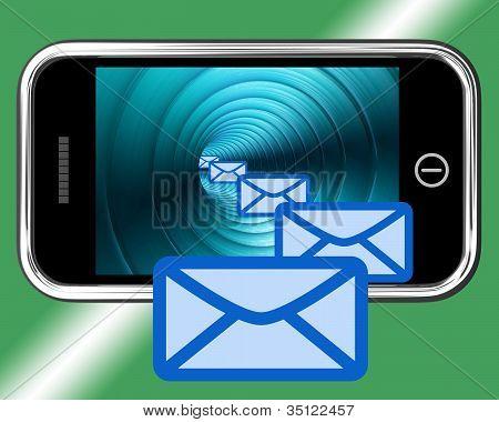 E-mail Envelopes no móvel apresentando E-mail ou entrar em contato com