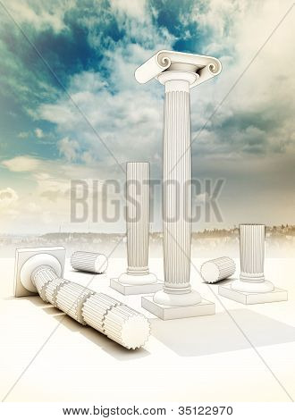 ruined columns in the ancient Greek Ionian style