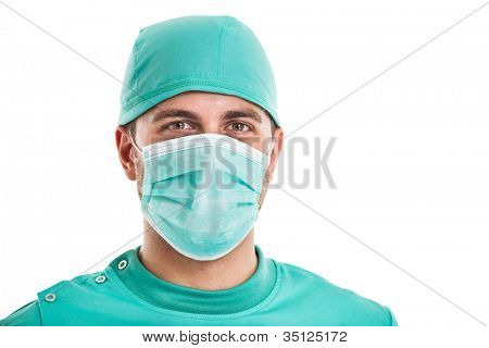Portrait of a confident surgeon. Isolated on white