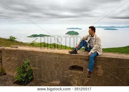A Man On The Wall Of Fortress