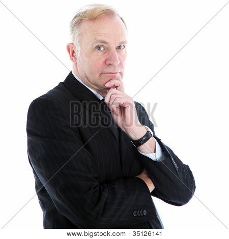 Pensive Thoughtful Businessman