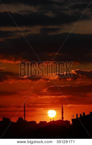 Red Sunset Scene With Mosque And Minarets - Vertical