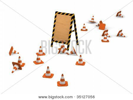 Under Construction. Wooden Board With Traffic Cones.