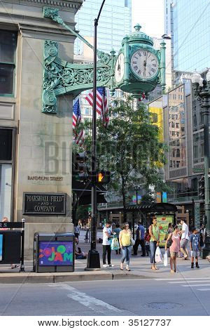 Chicago Street Scene With Marshall Field Clock