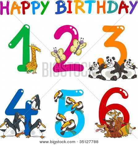 Birthday Anniversary Cartoons Set