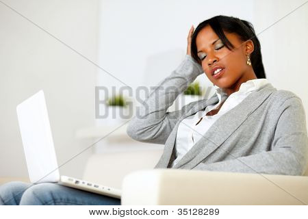 Afro-american Tired Young Woman With Headache