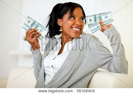 Beautiful Girl Holding Plenty Of Cash Money