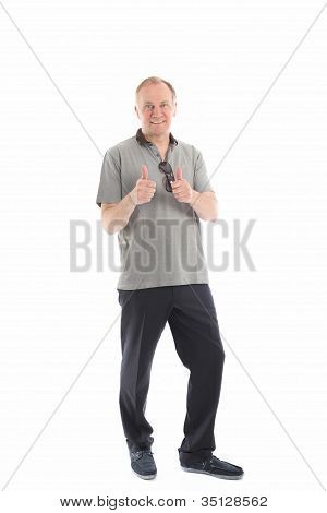 Middle-aged Man Giving Thumbs Up