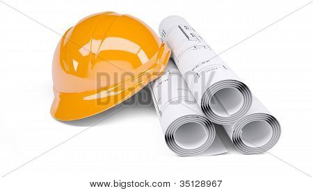 Rolls of architectural drawings and orange helmet