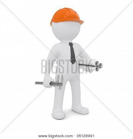 The white man in an orange helmet