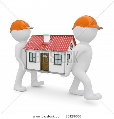 Two workers have a house with red roof