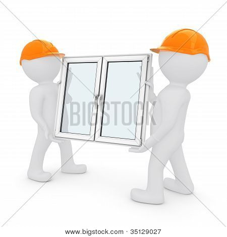 Two workers have plastic window