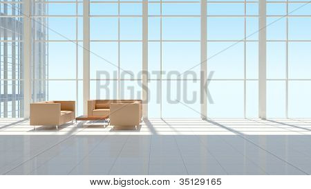 The interior of an office building