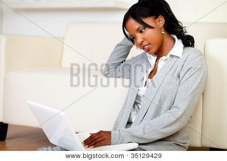 Beautiful Young Woman Working Relaxed On Laptop