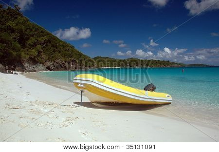 Beached Dinghy In The Caribbean