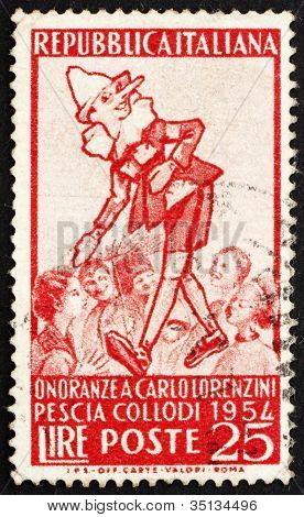 Postage stamp Italy 1954 Pinocchio and Group of Children