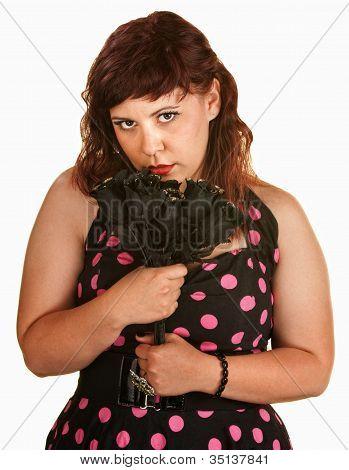 Sad Woman With Black Roses