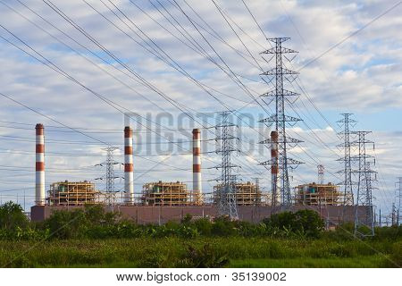 Electrical Power Plant And Pylons