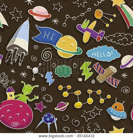Space Doodle Seamless Pattern