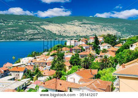 Beautiful View Of Montenegro City At The Seashore