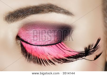 Eye With Pink Eyelashes