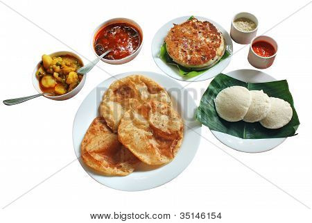 South Indian Morning Breakfast And Lunch Comprising Of Dosa Or Uttapam, Idli, Poori, Chutney, Sambar