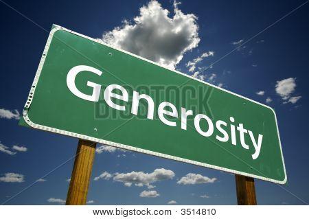 Generosity Road Sign