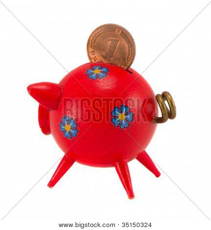 Red Piggybank With Pfennig Isolated On White