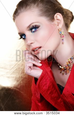 Fashion Make-Up Woman In Red