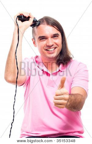 Happy Man Shaving Hair