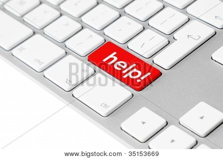 Computer Keyboard With Red Help Button