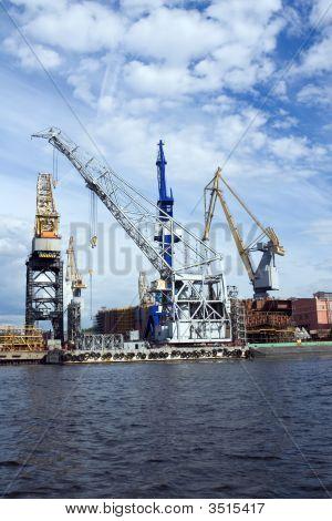 Cranes In Shipyard