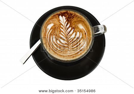 cappuccino with artistic cream decoration rosetta