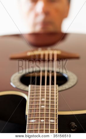 View Down The Fretboard Of Guitar To Face